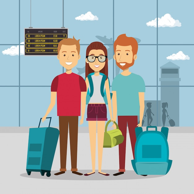 Group of travelers in the airport Free Vector