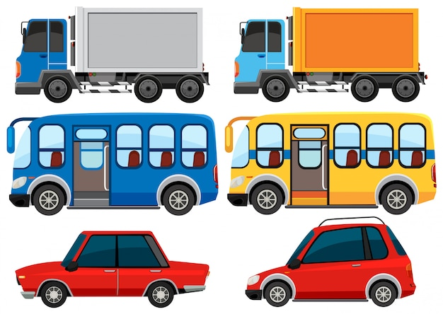 Group of vehicles Free Vector