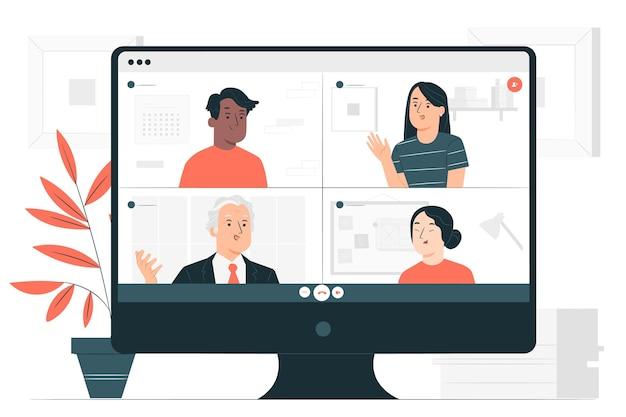 Иллюстрация концепции видео группы Бесплатные векторы