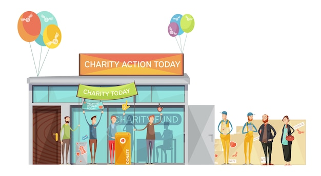Group of volunteers inviting for charity meeting flat illustration Free Vector