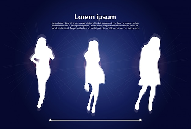 Group of white woman silhouettes. text template Premium Vector