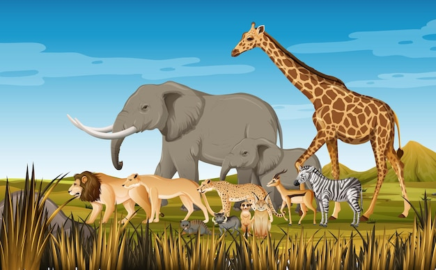 Group of wild african animal in the forest scene Premium Vector