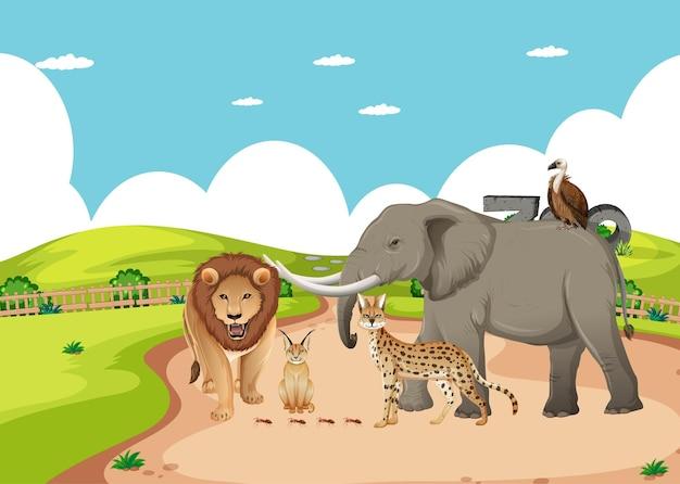 Gruppo di animali selvatici africani nella scena dello zoo Vettore gratuito
