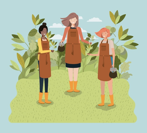 Group of women planting trees in the park Premium Vector