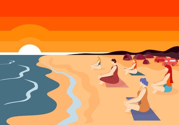 Group of women practising yoga on beach at sunset. Premium Vector