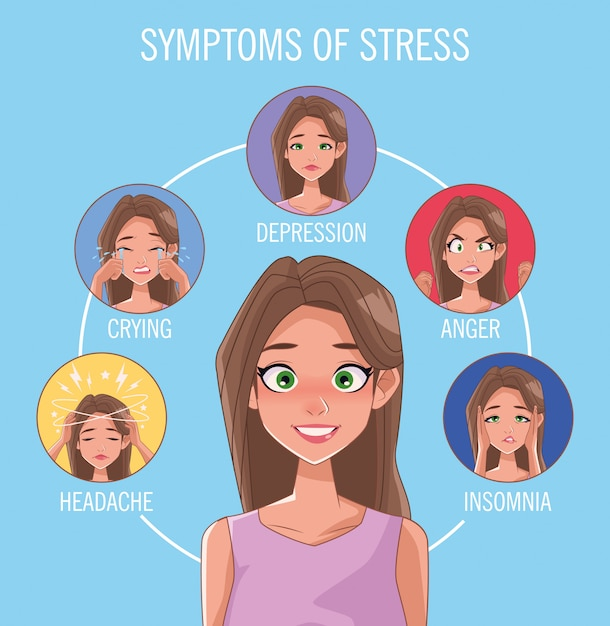 Group of women with stress symptoms vector illustration design Premium Vector