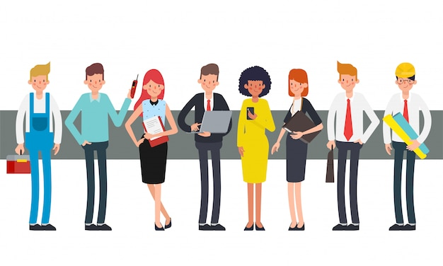 Group of working people teamwork in labor day. Premium Vector