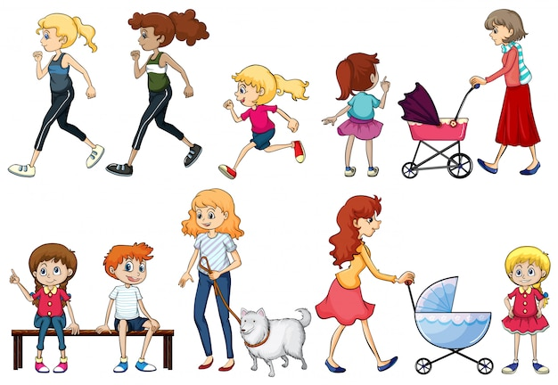 A group of young and adult ladies Free Vector