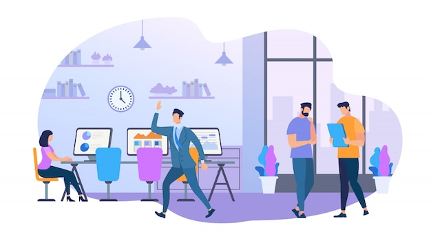 Group of young business people working together Premium Vector
