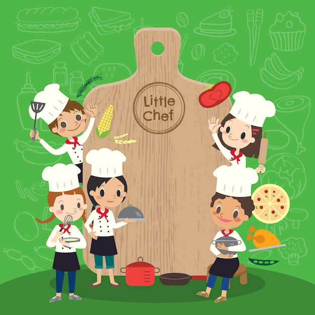 Group of young chef Premium Vector