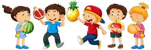 Gruppo di bambini piccoli personaggio dei cartoni animati su sfondo bianco Vettore gratuito