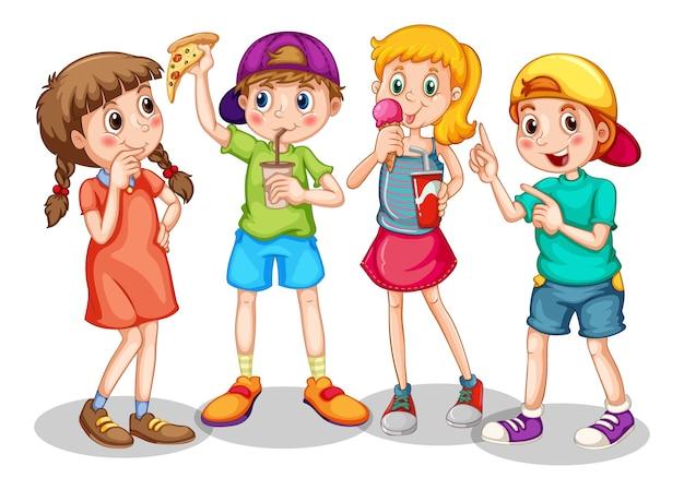 Gruppo di bambini piccoli personaggio dei cartoni animati su bianco Vettore gratuito