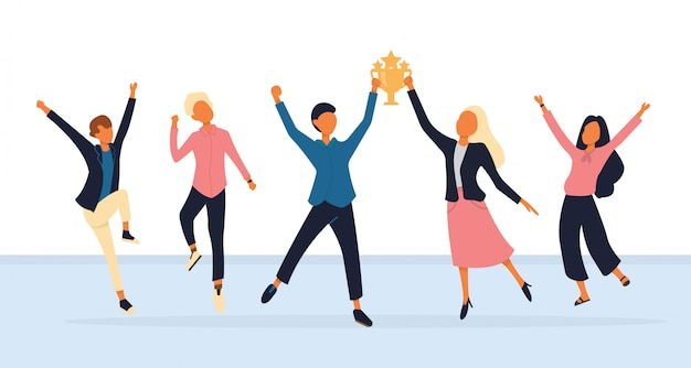 Group of young joyful people with champion cup Premium Vector
