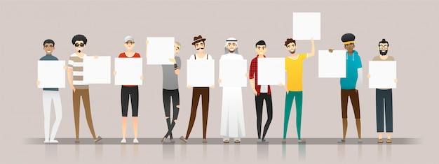 Group of young men holding empty boards Premium Vector