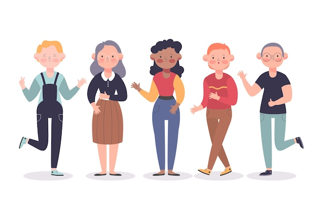 Group of young and old people together Free Vector