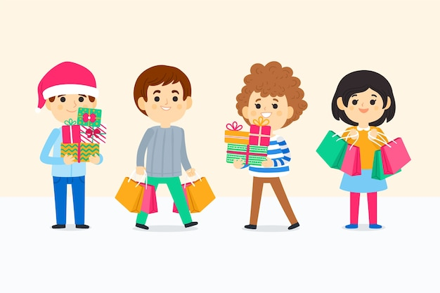Group of young people buying christmas gifts Free Vector