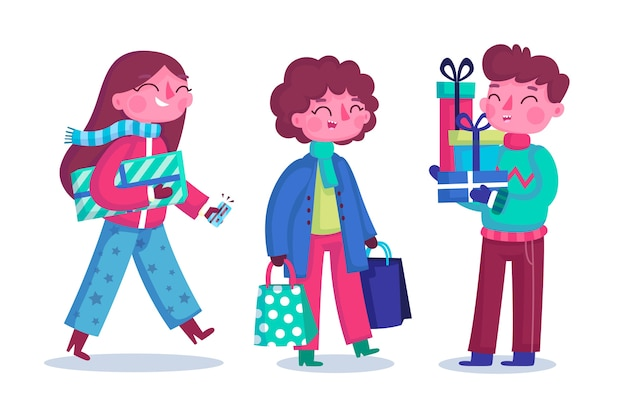 Group of young people buying gifts for chritsmas Free Vector