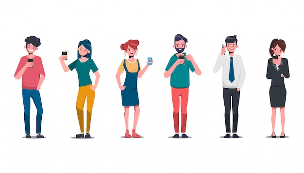 Group of young people character in social media and trendy with smartphone. communication lifestyle.