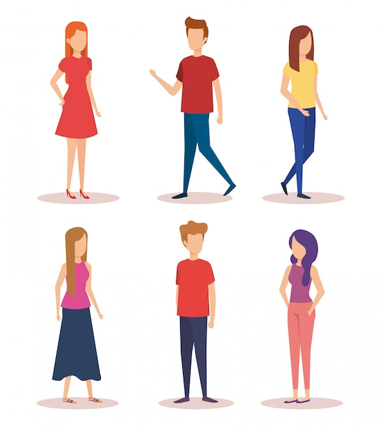 Group of young people characters Free Vector