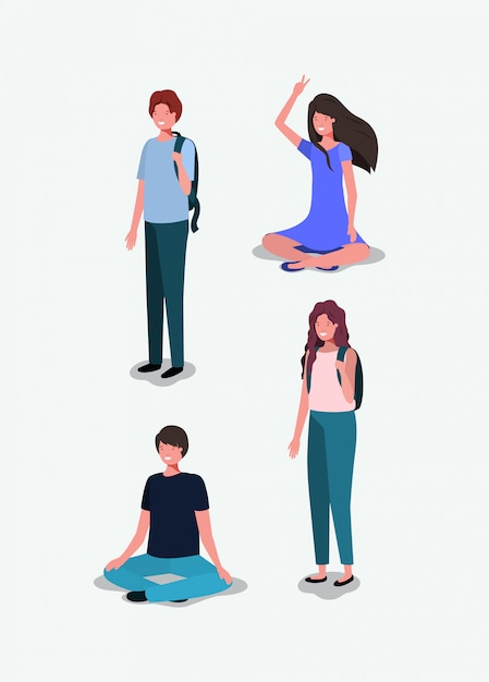 Group of young people characters Premium Vector