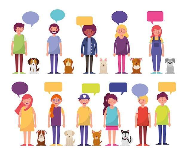 Group of young people and dogs characters Free Vector