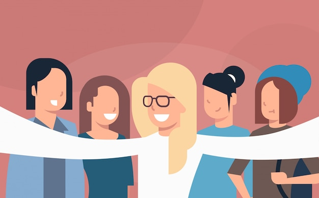 Group of young people friends taking selfie photo or self portrait Premium Vector