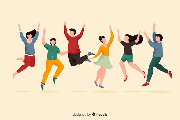 Group of young people having fun Free Vector