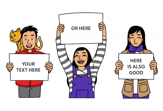 Group of young people holding signs Premium Vector