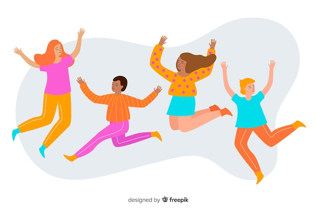 Group of young people jumping and having fun Free Vector