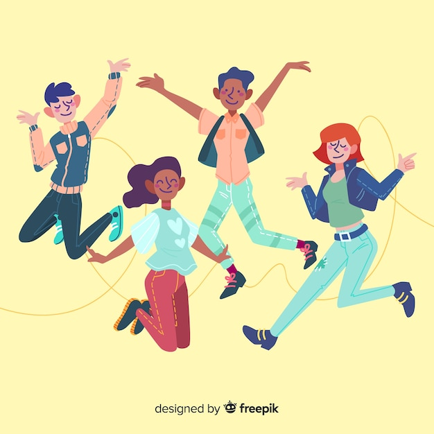 Group of young people jumping Free Vector