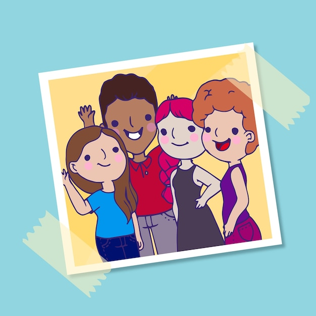 Group of young people posing for a photo Free Vector