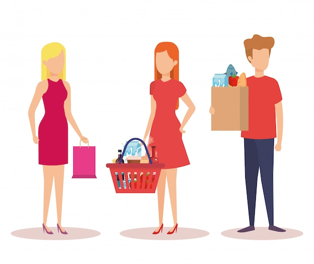 Group of young people shopping characters Free Vector