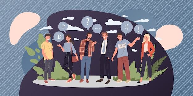 Group of young people talking  illustration Premium Vector