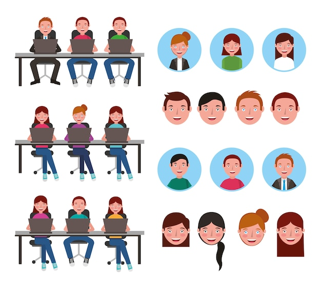 Group of young people using computers Free Vector
