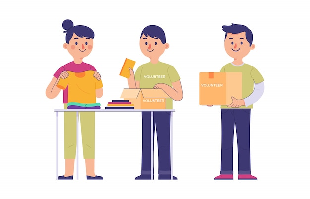 A group of young people volunteering to collect donations of clothes and books Premium Vector