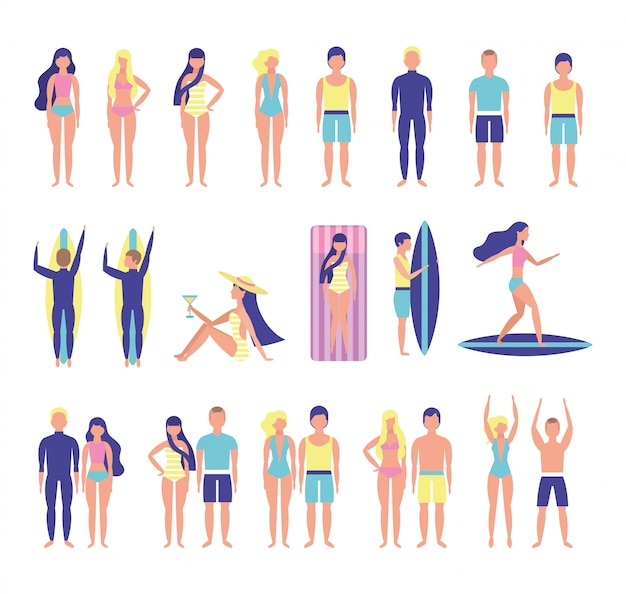 Group of young people with beach costumes bundle characters Free Vector