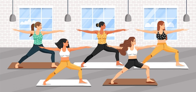 Group of young sporty women practicing yoga lesson Premium Vector