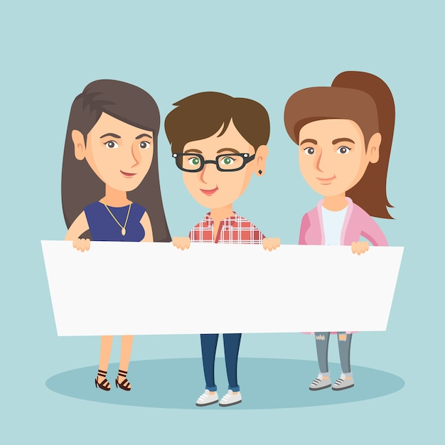 Group of young women holding white blank board. Premium Vector