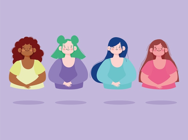 Группа молодых женщин портрет женский мультфильм векторные иллюстрации Premium векторы