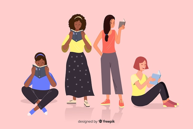Group of youngs reading illustration design Free Vector