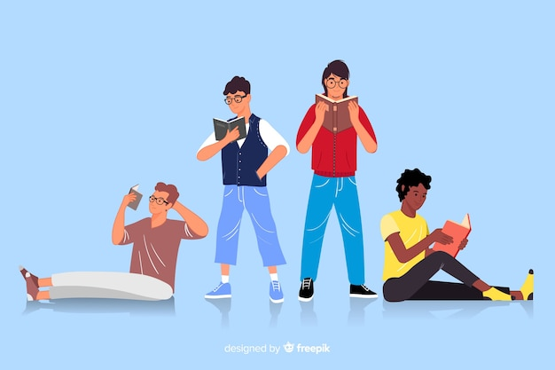 Group of youngs reading illustration Free Vector