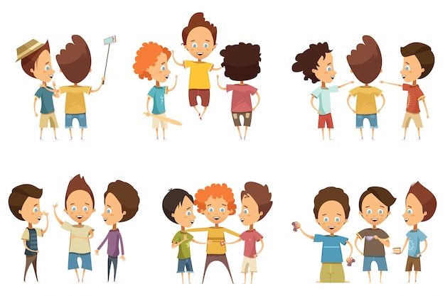 Groups of boys in colorful clothing with accessories during communication set Free Vector