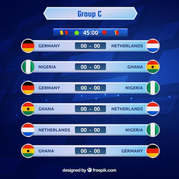 Groups of football world championship with different flags Free Vector