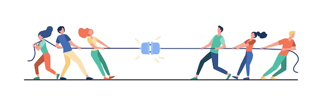 Groups of people pulling rope Free Vector