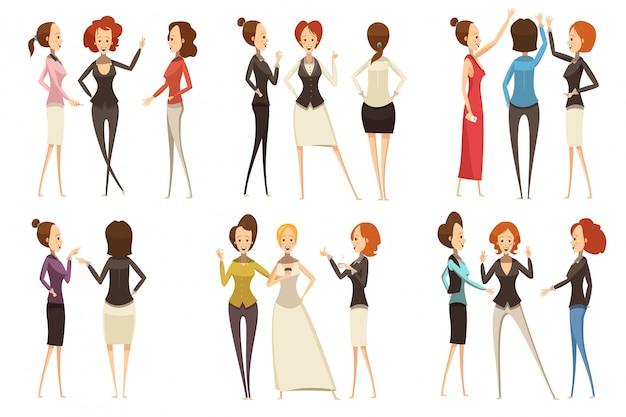 Groups of smiling businesswomen Free Vector