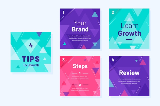 Grow your brand instagram tips template Free Vector