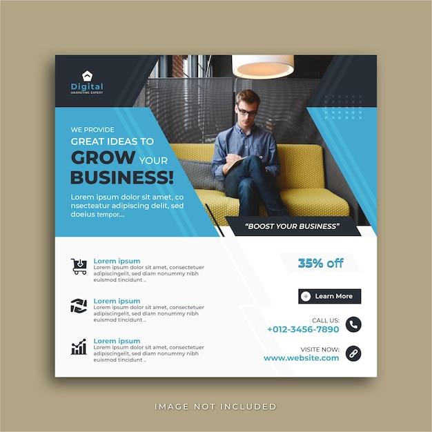 Развивайте свой бизнес агентство цифрового маркетинга и элегантный корпоративный флаер, квадратный пост в социальных сетях instagram или шаблон веб-баннера Premium векторы