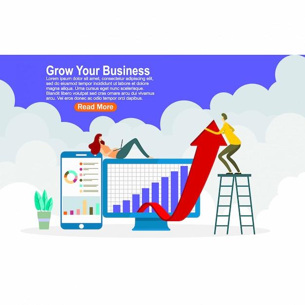 Grow your business landing page design Premium Vector