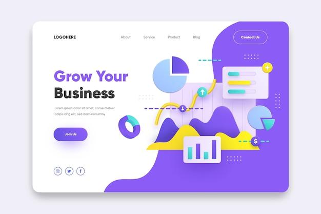 Шаблон целевой страницы для развития вашего бизнеса Бесплатные векторы