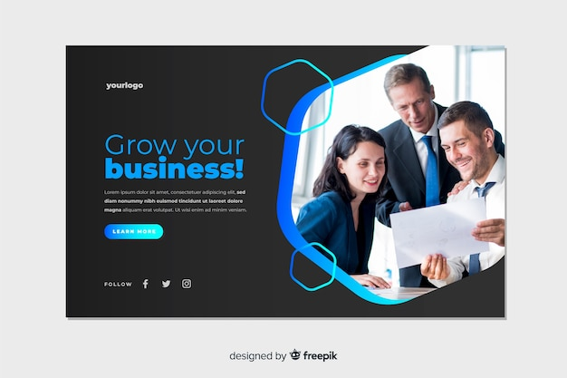 Grow your business landing page with photo Free Vector